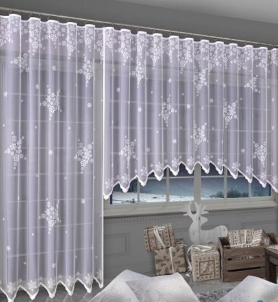 Firanki śnieżki Komplet Balkonowy Na Boże Naodzenie