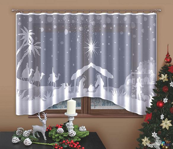 Firanka świąteczna Szopka 160x300 Cm Boże Narodzenie Taśma Marszcząca